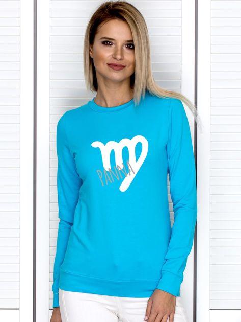 Bluza damska z motywem znaku zodiaku PANNA turkusowa                                  zdj.                                  1