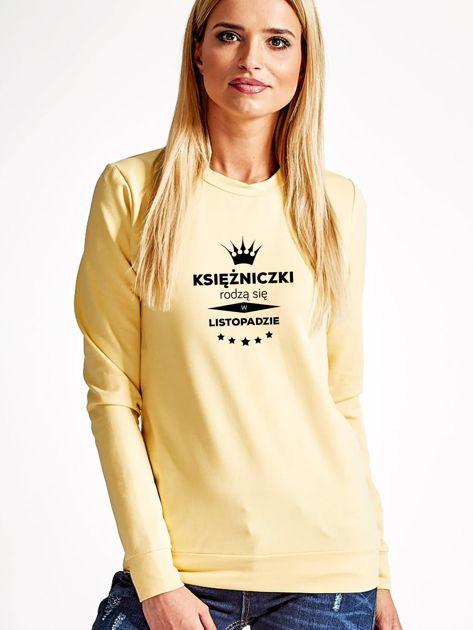 Bluza damska z nadrukiem tekstowym KSIĘŻNICZKA jasnożółta                              zdj.                              1