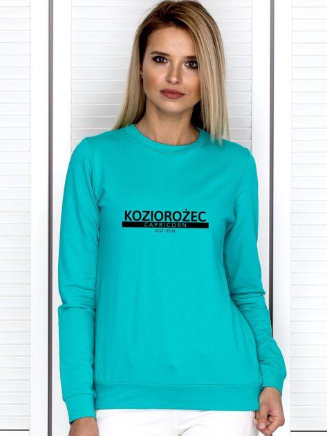Bluza damska z nadrukiem znaku zodiaku KOZIOROŻEC miętowa                                  zdj.                                  1