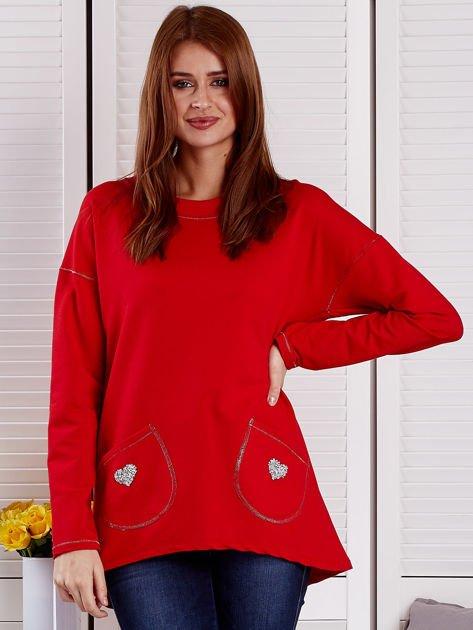 Bluza damska z serduszkami czerwona                                  zdj.                                  1