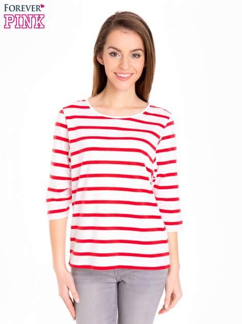 Bluzka basic w biało-czerwone paski