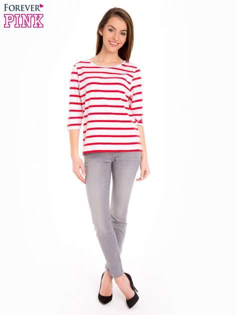 Bluzka basic w biało-czerwone paski                                  zdj.                                  2