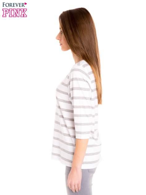Bluzka basic w biało-szare paski                                  zdj.                                  4