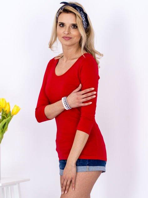 Bluzka czerwona z plecionym dekoltem na plecach                              zdj.                              3