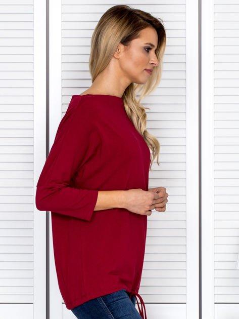 Bluzka damska oversize z kieszenią bordowa                              zdj.                              3