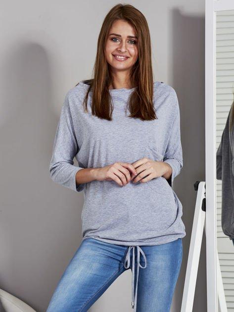 Bluzka damska oversize z kieszenią szara                                  zdj.                                  1