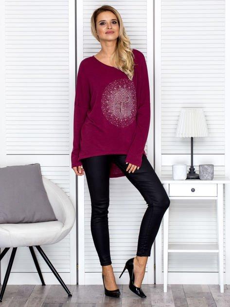Bluzka damska oversize z kolorowymi dżetami bordowa                                  zdj.                                  4