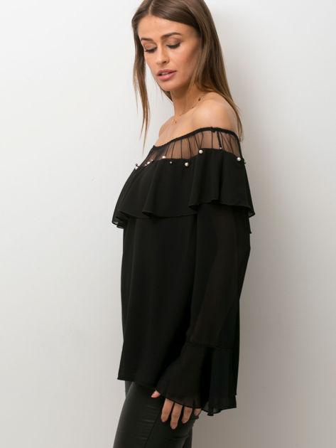 Bluzka hiszpanka z perełkami czarna                              zdj.                              3