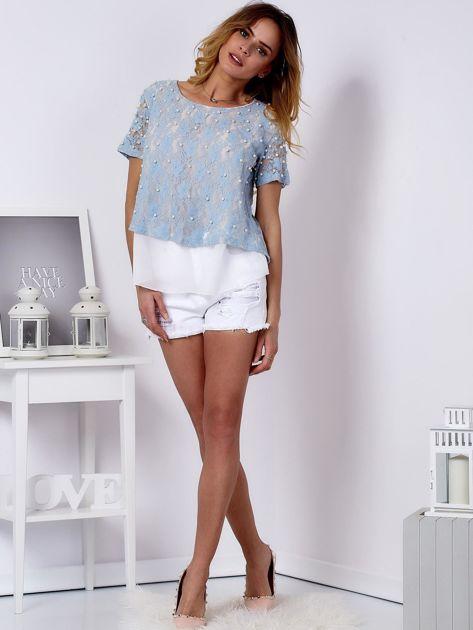 Bluzka koronkowa jasnoniebieska z perełkami                              zdj.                              4