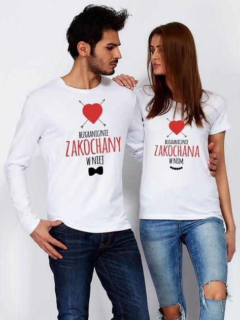 Bluzka męska biała BEZGRANICZNIE ZAKOCHANY W NIEJ dla par                                  zdj.                                  3