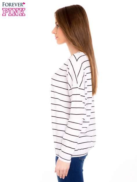 Bluzka w biało-czarne paski z gumką u dołu                                  zdj.                                  2