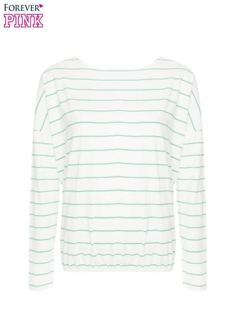 Bluzka w biało-zielone paski z gumką u dołu                                  zdj.                                  5