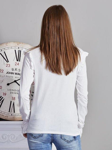 Bluzka z falbankami na ramionach ecru                              zdj.                              2