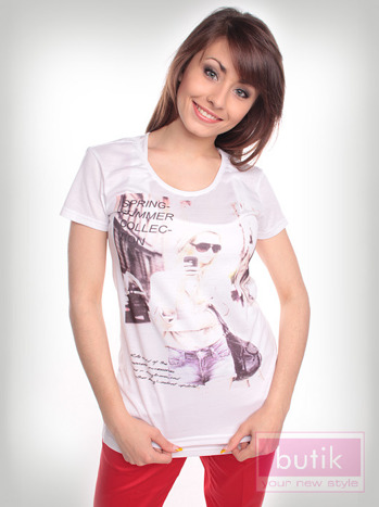 Bluzka z trendy nadrukiem                                  zdj.                                  3