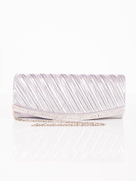 Błyszcząca elegancka kopertówka z dżetami srebrna                              zdj.                              7
