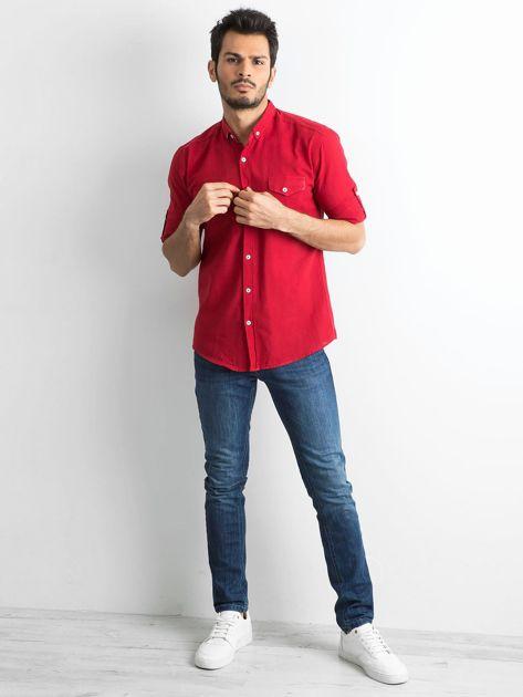 Bordowa bawełniana koszula męska                               zdj.                              4