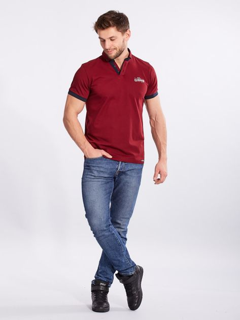 Bordowa bawełniana męska koszulka polo                              zdj.                              4