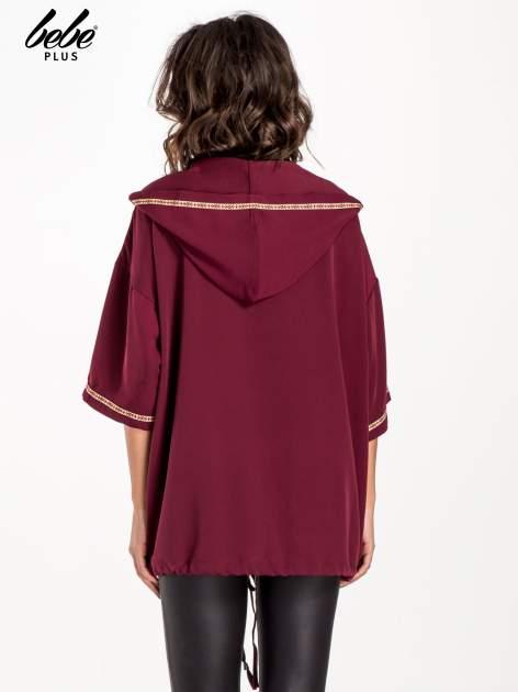 Bordowa bluza z kapturem w stylu boho                                  zdj.                                  2