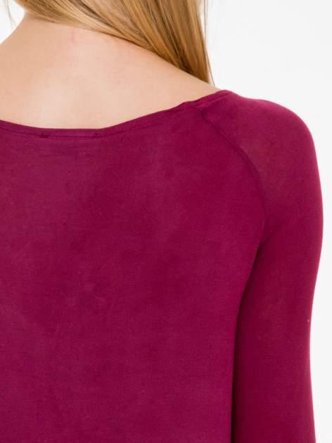 Bordowa bluzka ze skórzanym czarnym przodem                                  zdj.                                  7