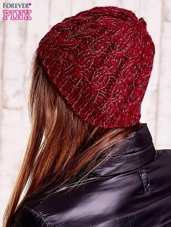 Bordowa czapka z metaliczną nicią                                  zdj.                                  2