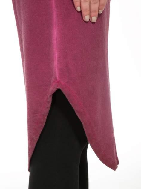 Bordowa dresowa sukienka z koronkowym karczkiem                                  zdj.                                  7
