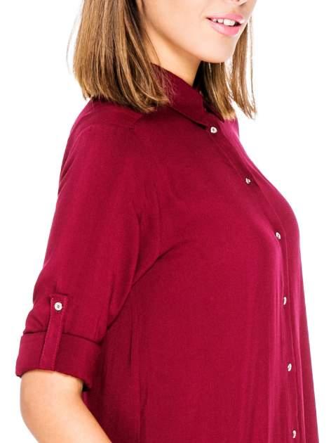 Bordowa koszula damska z zamkiem z tyłu                                  zdj.                                  6