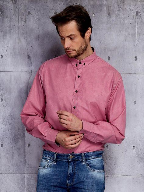 Bordowa koszula męska w delikatny wzór PLUS SIZE                              zdj.                              1