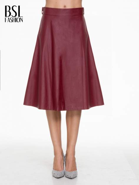 Bordowa skórzana spódnica midi szyta z półkola                                  zdj.                                  1