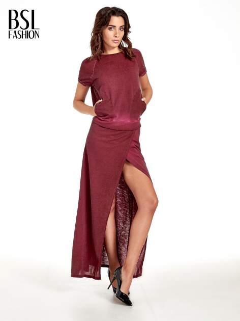 Bordowa sukienka maxi z dekoltem na plecach                              zdj.                              1