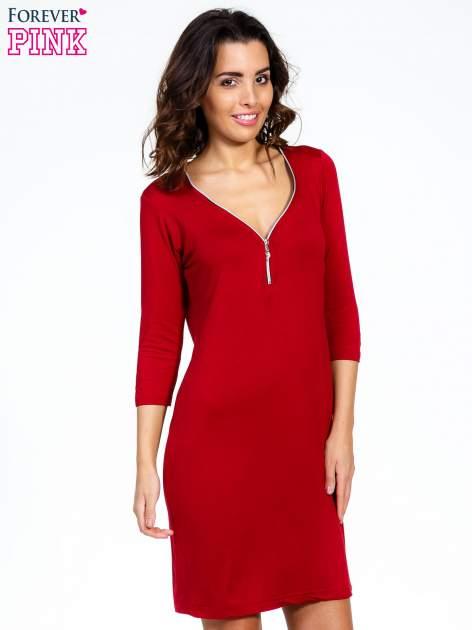 Bordowa sukienka z suwakiem                                  zdj.                                  1