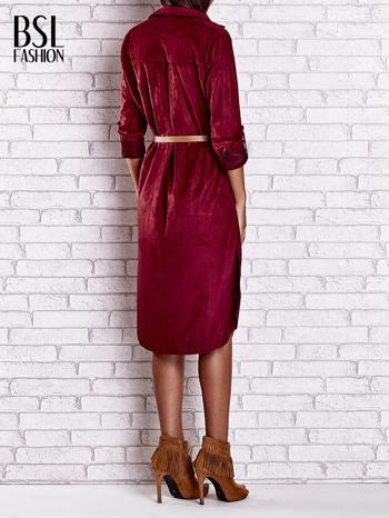 Bordowa zamszowa sukienka z rozcięciami po bokach                                  zdj.                                  4