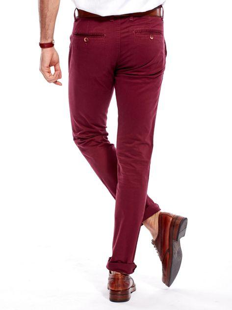 Bordowe bawełniane spodnie męskie chinosy                                   zdj.                                  2