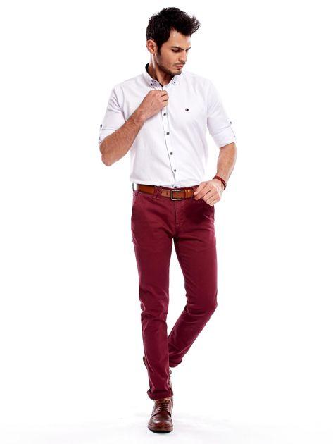 Bordowe bawełniane spodnie męskie chinosy                                   zdj.                                  8