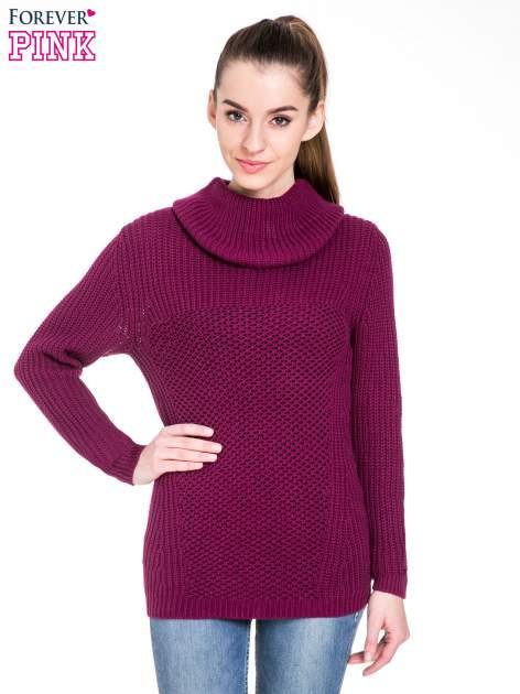 Bordowy ciepły sweter z golfowym kołnierzem                                  zdj.                                  1