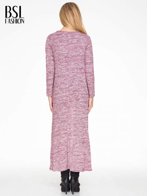 Bordowy melanżowy długi sweter typu kardigan                                  zdj.                                  2