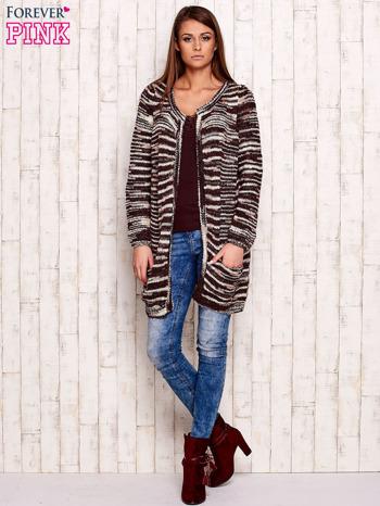 Bordowy otwarty melanżowy sweter                                   zdj.                                  2