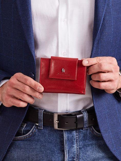 Bordowy skórzany portfel z klapką                              zdj.                              1