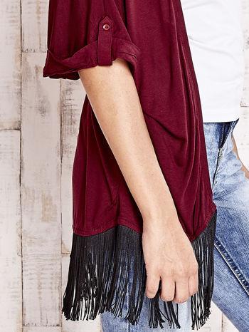 Bordowy sweter z podwijanymi rękawami i frędzlami na dole                                  zdj.                                  5