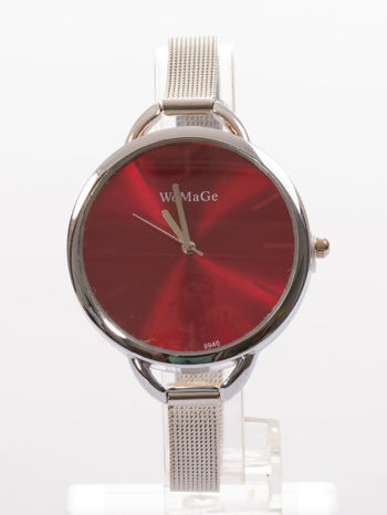 Bordowy zegarek damski na bransolecie