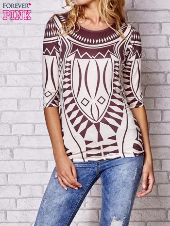 Brązowa bluzka z nadrukiem geometrycznym