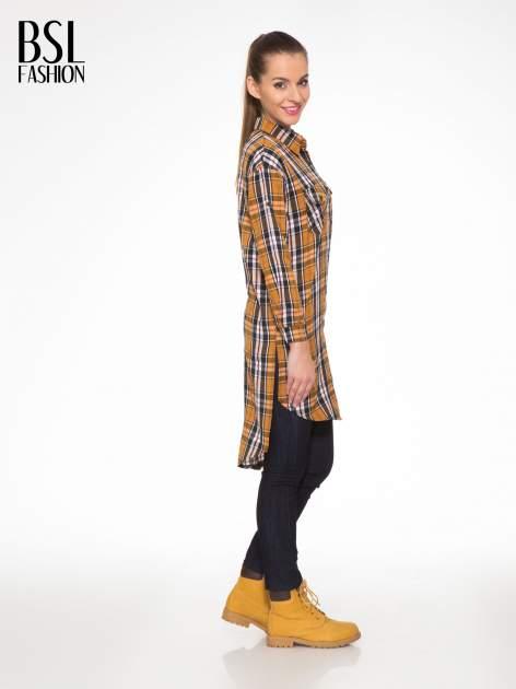 Brązowa długa koszula w kratę w kratę z kieszeniami                                  zdj.                                  3