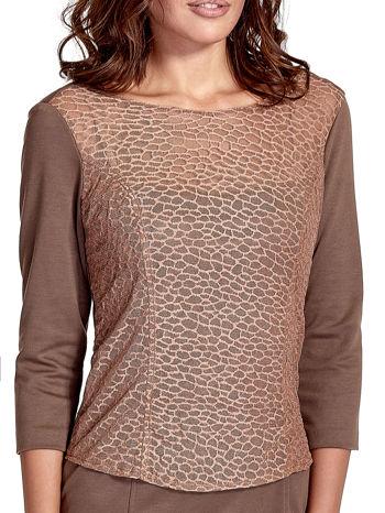 Brązowa dopasowana sukienka z ażurowym wykończeniem                                  zdj.                                  5