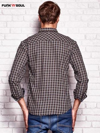 Brązowa koszula męska w kratkę FUNK N SOUL