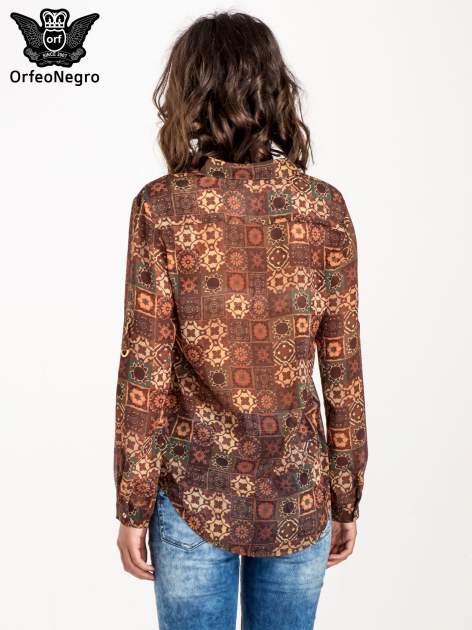 Brązowa koszula w kwiatowe ornamenty                                  zdj.                                  4