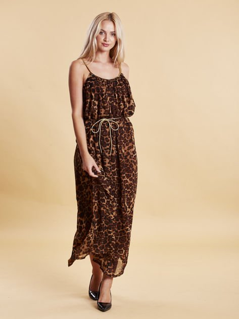 Brązowa panterkowa sukienka maxi na złotych ramiączkach                                  zdj.                                  3