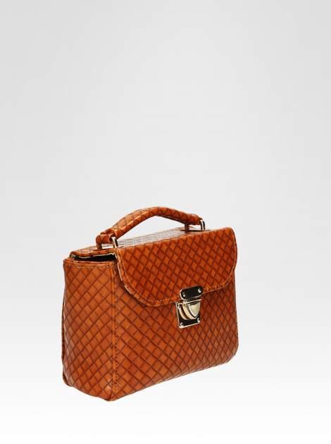 Brązowa pikowana mini torebka kuferek w stylu retro                                  zdj.                                  2
