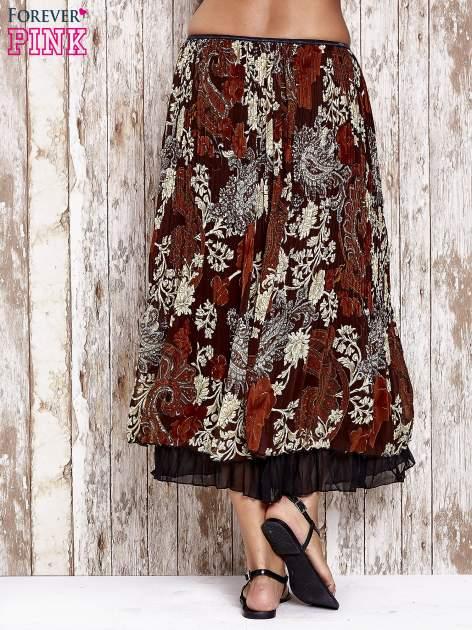 Brązowa plisowana spódnica midi z brokatem                                  zdj.                                  4