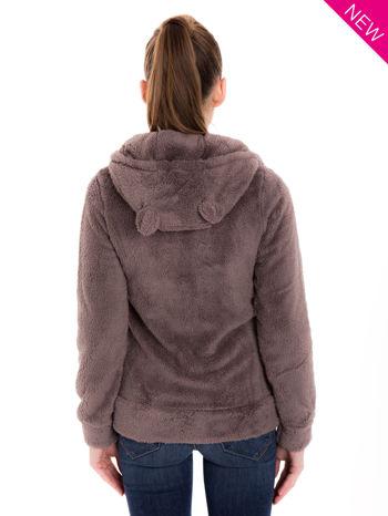Brązowa pluszowa bluza z kapturem z uszkami i pomponami                                  zdj.                                  3