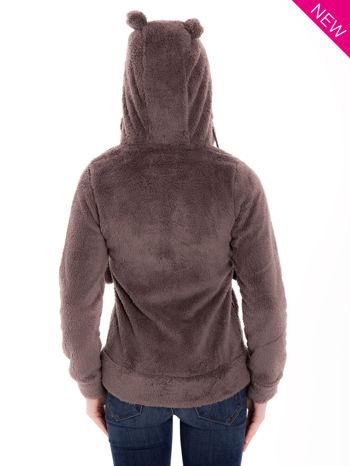 Brązowa pluszowa bluza z kapturem z uszkami i pomponami                                  zdj.                                  6