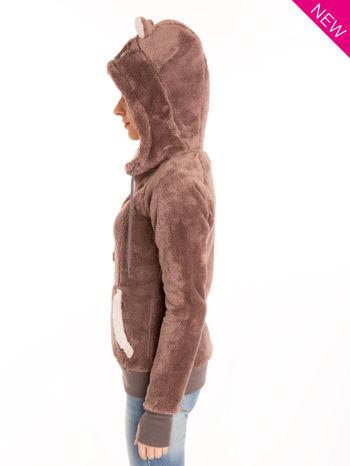 Brązowa polarowa bluza miś z kapturem z uszkami                                  zdj.                                  2